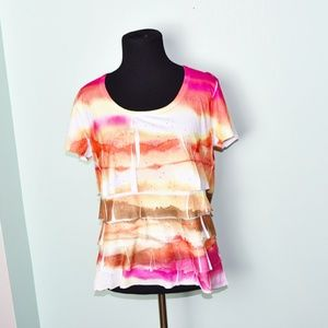 Stunning Pink and Orange Print Cutout Top